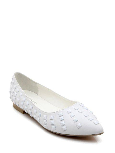 fancy Pointed Toe Rivets Flat Shoes - WHITE 36 Mobile