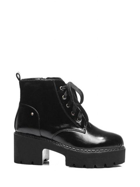 latest Platform Round Toe Lace-Up Ankle Boots -   Mobile