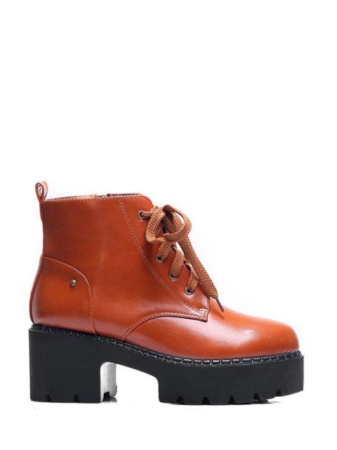 sale Platform Round Toe Lace-Up Ankle Boots -   Mobile