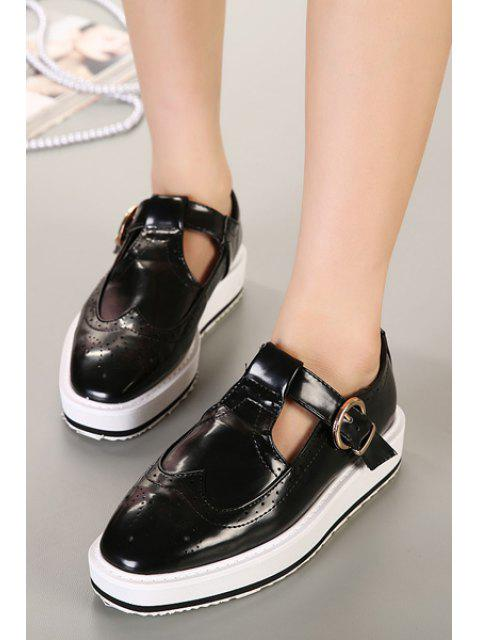affordable Hollow Out Square Toe Flat Shoes -   Mobile