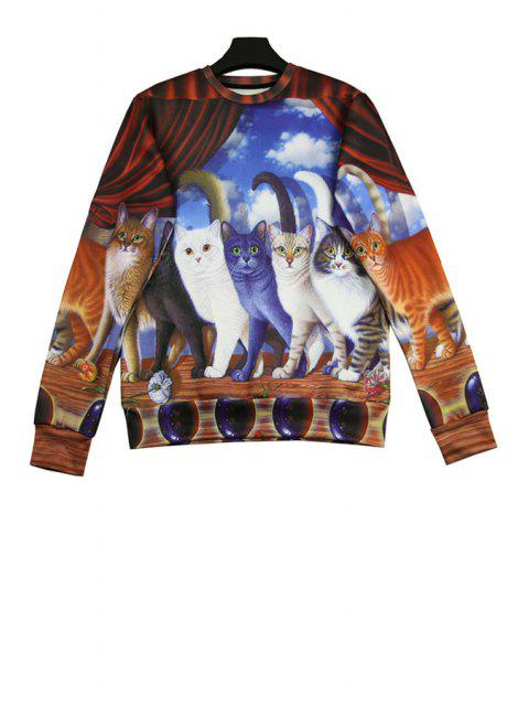 sale Kitten Print Long Sleeve Sweatshirt - COLORMIX ONE SIZE(FIT SIZE XS TO M) Mobile