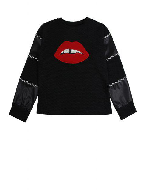 lady Lip Pattern Long Sleeve Sweatshirt - BLACK ONE SIZE(FIT SIZE XS TO M) Mobile