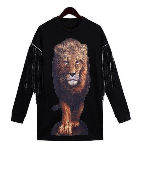best Lion Pattern Long Sleeve Sweatshirt - BLACK ONE SIZE(FIT SIZE XS TO M) Mobile