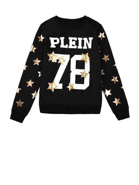 outfits Star Letter and Number Pattern Sweatshirt - BLACK ONE SIZE(FIT SIZE XS TO M) Mobile