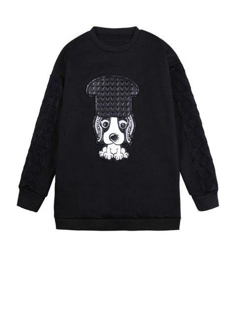 shops Puppy Pattern Long Sleeve Sweatshirt - BLACK ONE SIZE(FIT SIZE XS TO M) Mobile