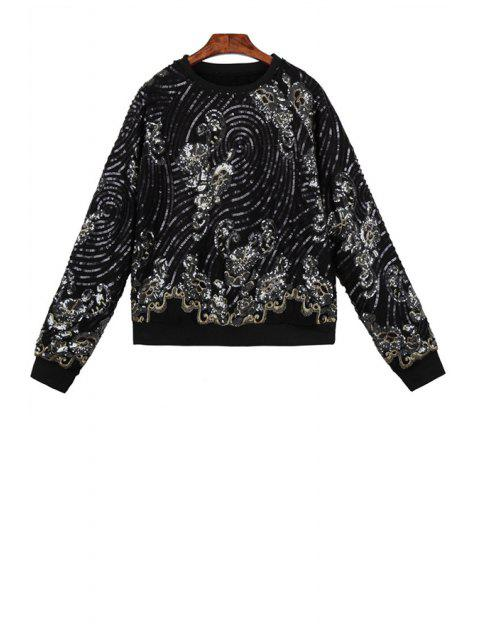 fancy Sequins Long Sleeve Sweatshirt - BLACK ONE SIZE(FIT SIZE XS TO M) Mobile