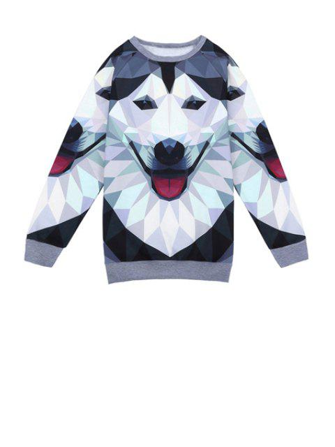 unique Wolf Print Long Sleeve Sweatshirt - COLORMIX ONE SIZE(FIT SIZE XS TO M) Mobile