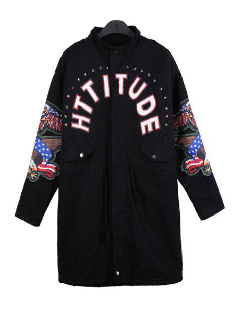 shops Letter Print Eagle Embroidery Coat - BLACK ONE SIZE(FIT SIZE XS TO M) Mobile
