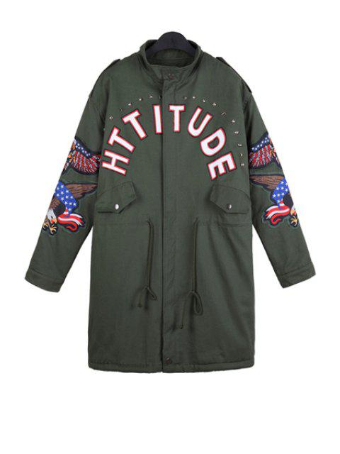 latest Letter Print Eagle Embroidery Coat - ARMY GREEN ONE SIZE(FIT SIZE XS TO M) Mobile