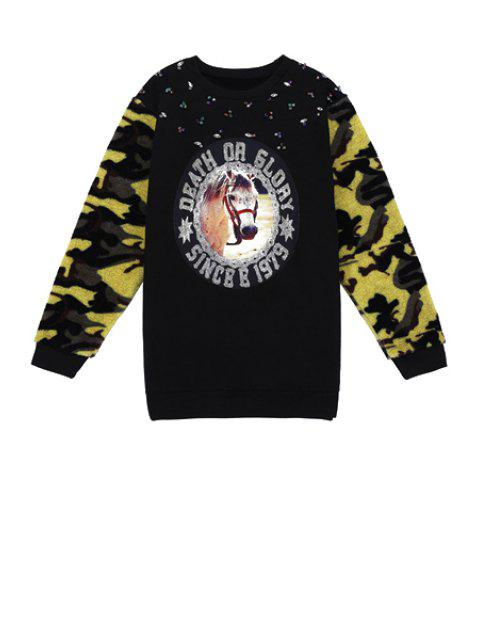 buy Horse Print Camouflage Splicing Sweatshirt - BLACK ONE SIZE(FIT SIZE XS TO M) Mobile