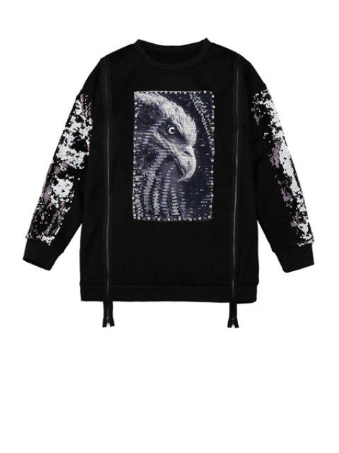 women Sequins Eagle Pattern Zipper Sweatshirt - BLACK ONE SIZE(FIT SIZE XS TO M) Mobile