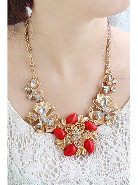 outfits Gemstone Flower Pendant Necklace - RED  Mobile
