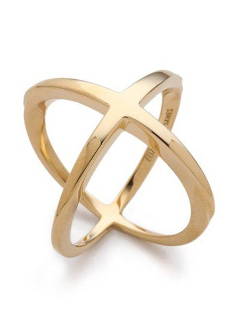 sale Cross Gold Plated Ring - GOLDEN ONE-SIZE Mobile
