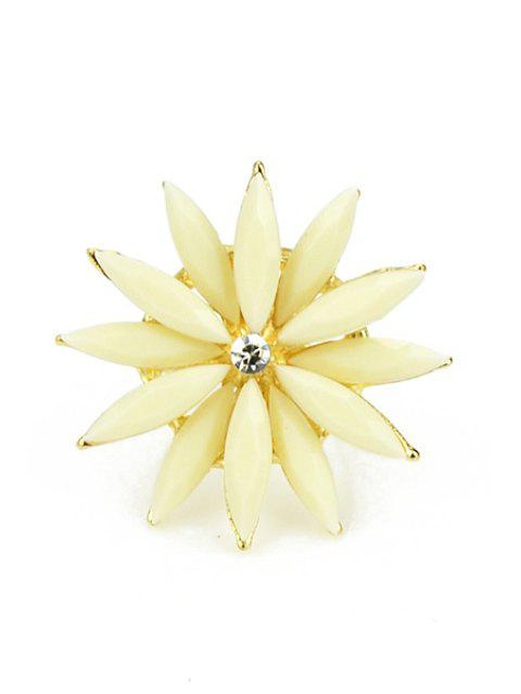 latest Faux Gem Decorated Flower Ring - OFF-WHITE  Mobile