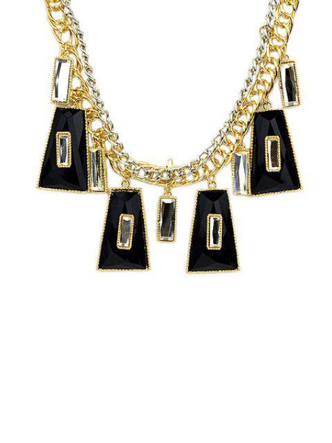 fancy Faux Gemstone Geometric Pendant Necklace -   Mobile