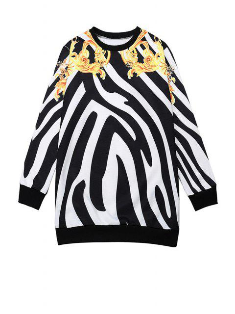 outfits Zebra Striped Long Sleeve Sweatshirt - WHITE AND BLACK ONE SIZE(FIT SIZE XS TO M) Mobile
