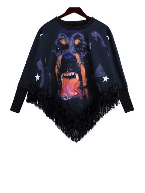 shops Dog Print Fringe Splicing Sweatshirt - BLACK ONE SIZE(FIT SIZE XS TO M) Mobile