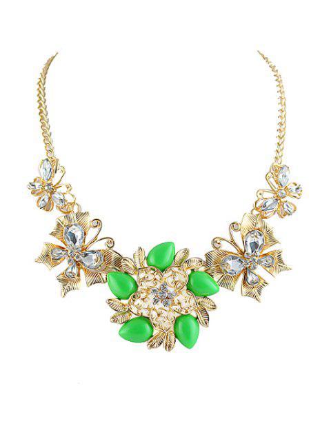 shop Gemstone Flower Pendant Necklace - GREEN  Mobile