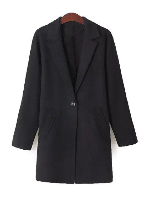 fancy Solid Color Lapel Neck Coat - BLACK S Mobile