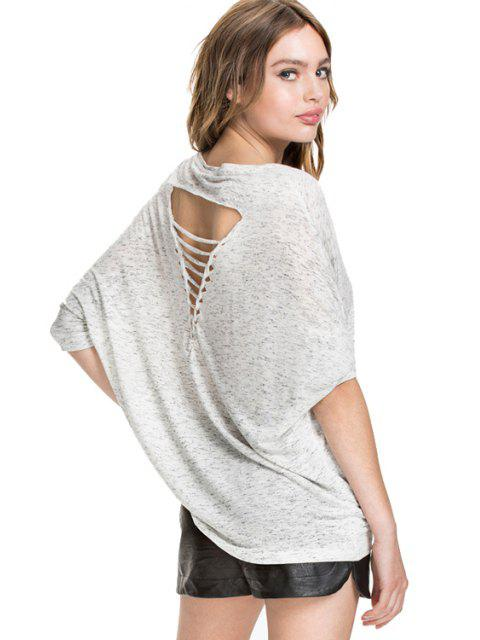 fashion Solid Color Bat-Wing Sleeve T-Shirt - GRAY XS Mobile