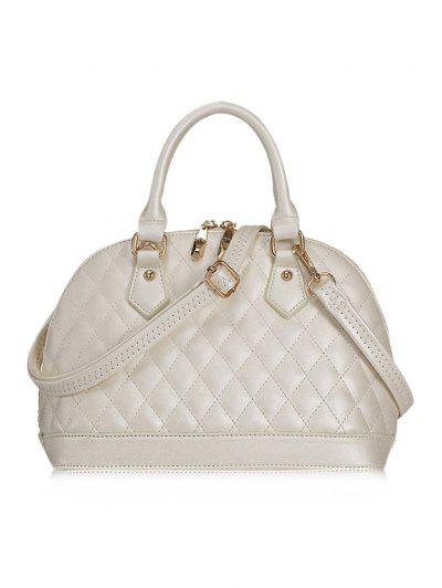 Checked Shell Shape Tote Bag - White