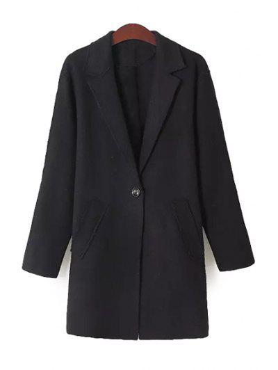 Solid Color Lapel Neck Coat - Black S