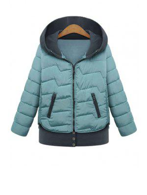 Hooded Color Block Coat - Blue Xl
