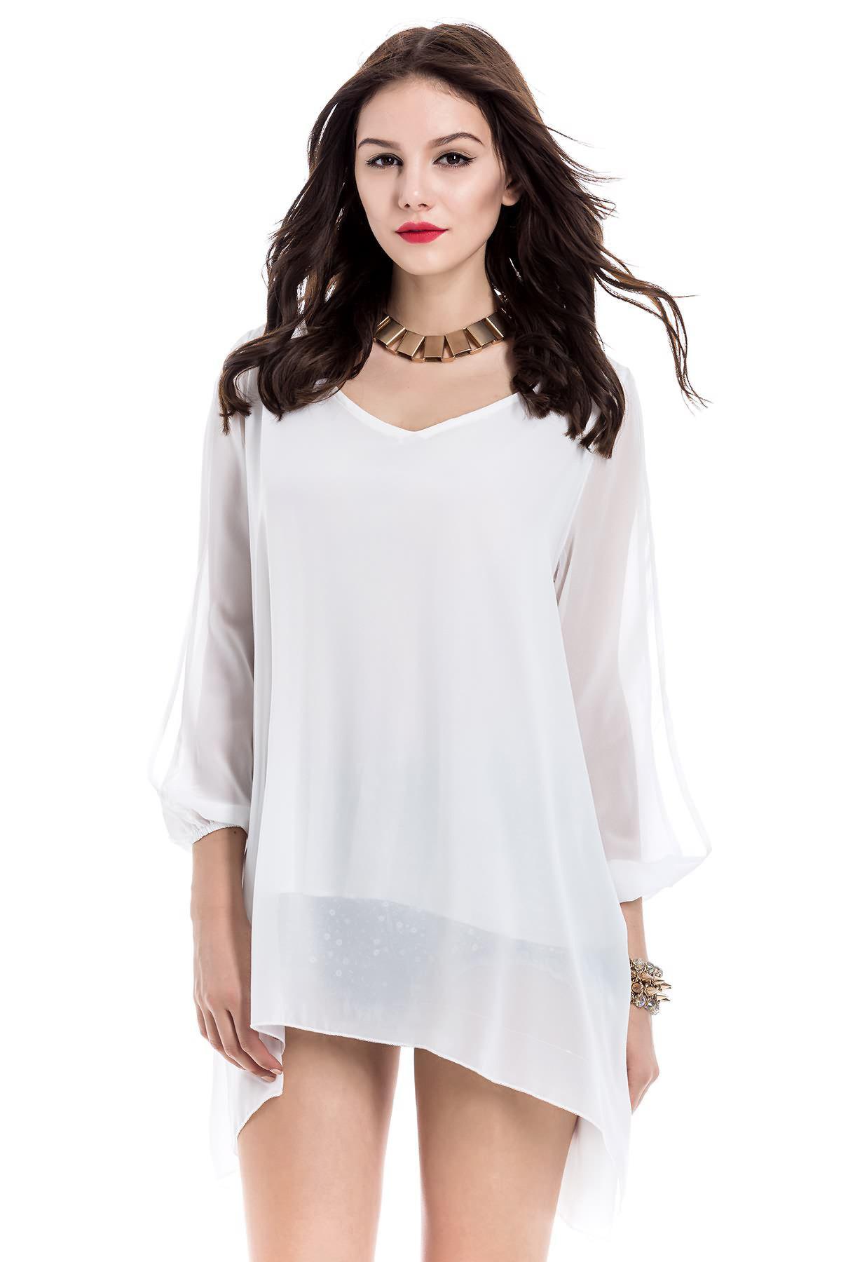 Long Sleeve Chiffon Beach Shift Dress YC0289103