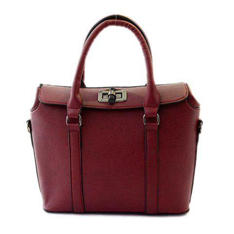 Concise PU leather and Hasp Design Women s Tote Bag