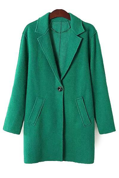 Solid Color Lapel Neck Coat, Green