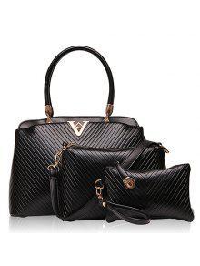 Sac Fourre-tout à La Mode Et PU Leather Design Women's Tote Bag - Noir