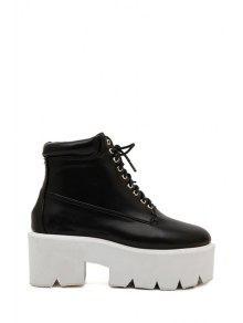 Buy Stylish Women's Platform Shoes Solid Color Lace-Up Design - BLACK 38