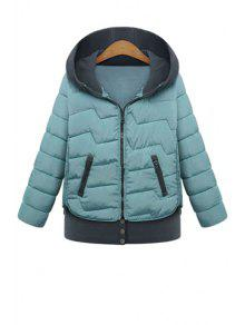 Hooded Color Block Coat - Blue Xl