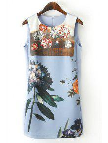 Floral Print Jewel Neck Sundress - Blue S