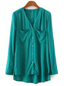Buy Single-Breasted V-Neck High Low Shirt - GREEN M