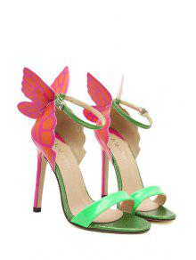38d96ecb190 46% OFF  2019 Butterfly Color Block Stiletto Heel Sandals In GREEN ...