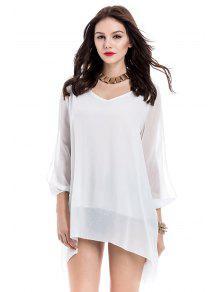 طويلة الأكمام الشيفون شاطئ التحول اللباس - أبيض L