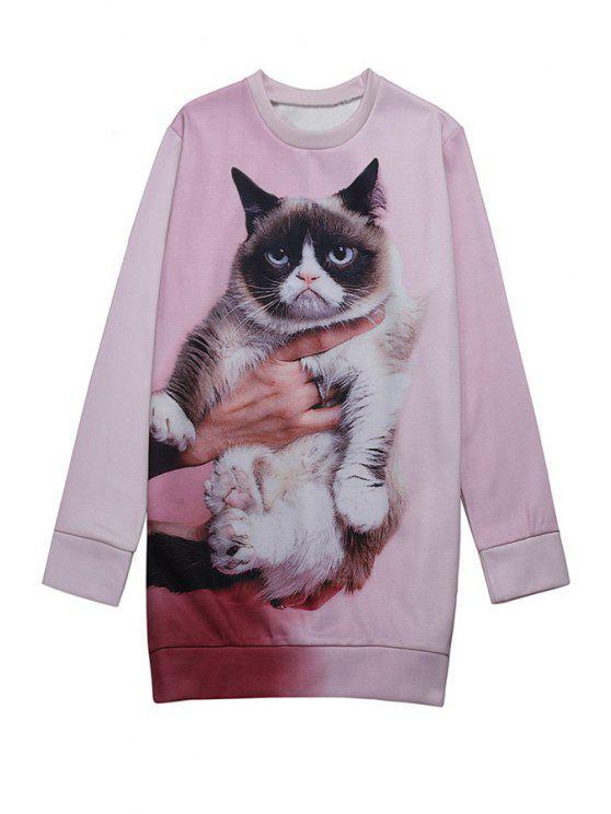 hot Long Sleeve Kitten Print Sweatshirt - PINK ONE SIZE(FIT SIZE XS TO M)