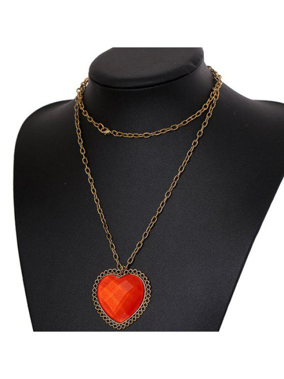 fashion Chic Women's Heart Rhinestone Design Necklace - AS THE PICTURE