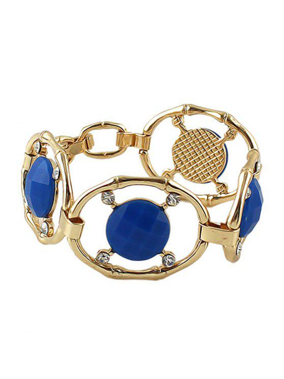 chic Faux Gemstone and Rhinestone Decorated Bracelet - BLUE