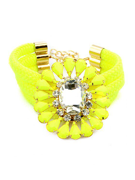 online Faux Gem Decorated Flower Shape Bracelet - YELLOW