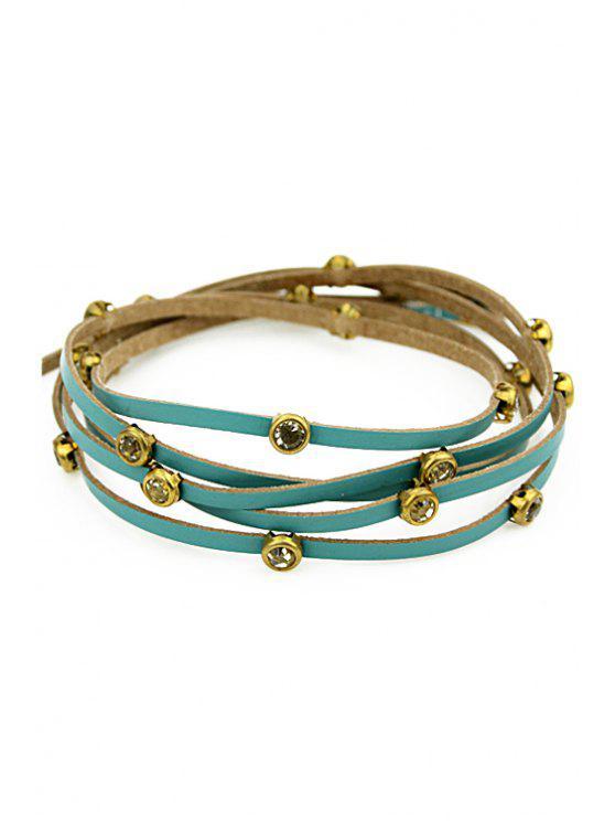 hot Faux Gem Decorated Layered Bracelet - BLUE