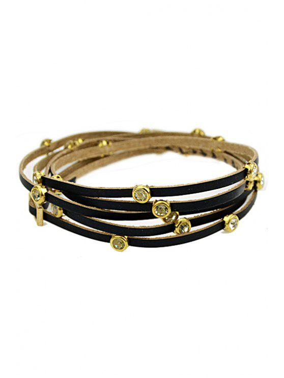 shop Faux Gem Decorated Layered Bracelet - BLACK