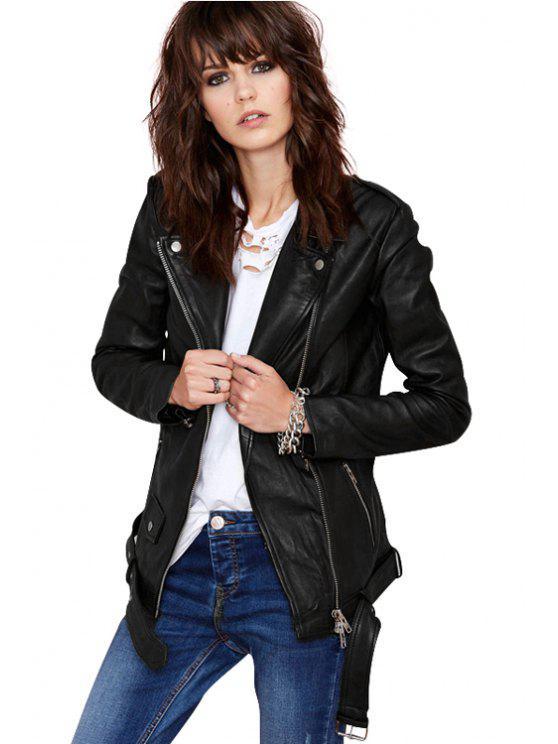 women's Black PU Leather Lapel Neck Jacket - BLACK XS