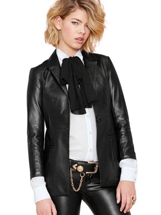 latest PU Leather Long Sleeve Black Blazer - BLACK 2XL