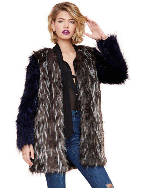 lady Color Block Faux Fur Coat - COLORMIX XS