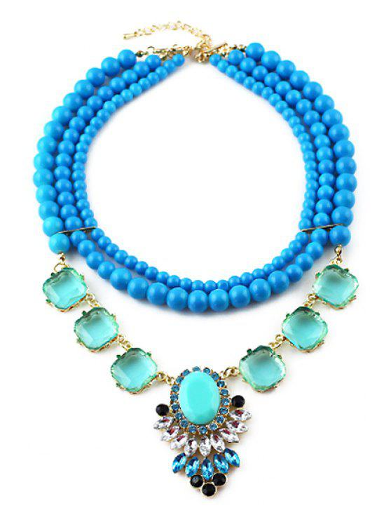 chic Bule Beads Necklace - BLUE