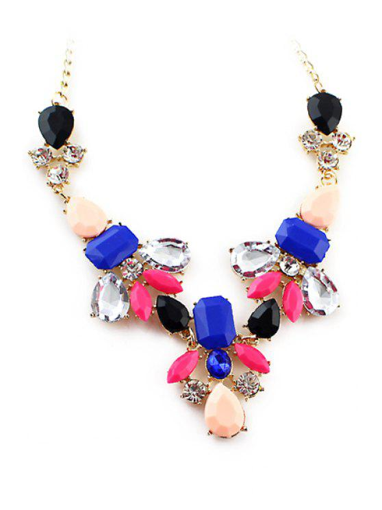 affordable Secondary Color Faux Gem Necklace - BLUE