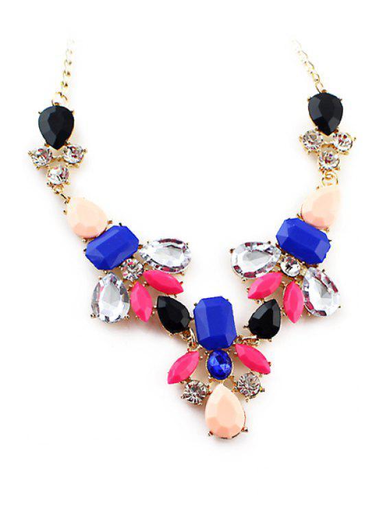 affordable Secondary Color Faux Gem Necklace - BLUE