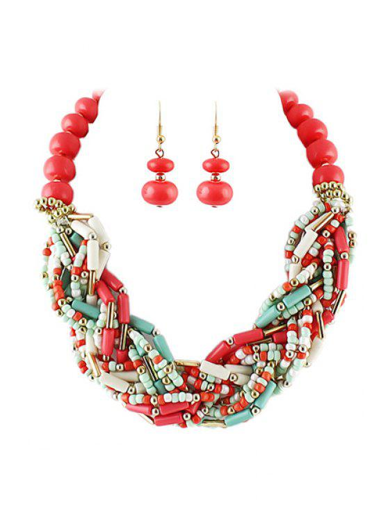 womens Beads Decorated Necklace and A Pair of Earrings - AS THE PICTURE